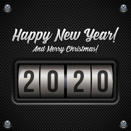 2020 Happy New Year Card, Banner, Flyer Or Marry Christmas Themed Invitations. Mechanical Flip Countdown Clock Counter Timer. Calendar Screen. Board With Scoreboard Digits for Web Design. Banco de Imagens - 137414430