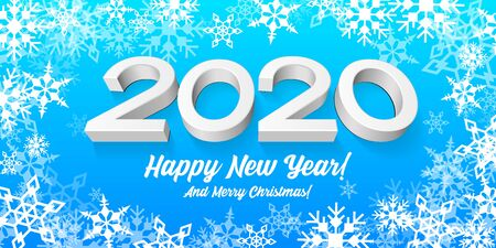 2020 Happy New Year Blue Background, Card, Banner, Flyer Or Christmas Themed Invitations. Illustration Digits And White Snowflake. Ready For Your Design. Vector EPS10 Banco de Imagens - 135939919