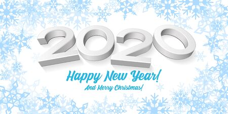 2020 Happy New Year White Background, Card, Banner, Flyer Or Christmas Themed Invitations. Illustration 3D Digits And Blue Snowflake. Ready For Your Design. Vector EPS10