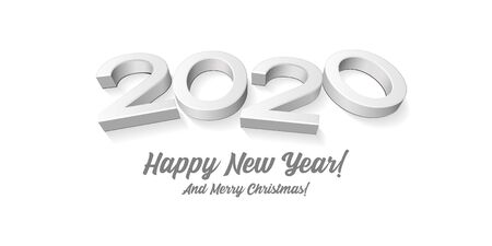 2020 Happy New Year , Card, Banner, Flyer Or Marry Christmas Themed Invitations. Gray Digits Isolated On White Blackground. Ready For Your Design. Vector Ilustração