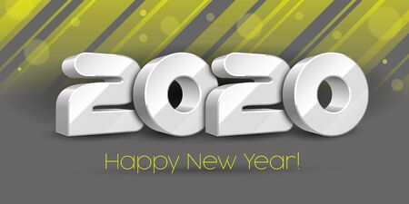 2020 Happy New Year , Card, Banner, Flyer Or Marry Christmas Themed Invitations. White Digits On Gray, Yellow Blackground. Ready For Your Design. Vector