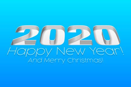 2020 Happy New Year Background, Card, Banner, Flyer Or Marry Christmas Themed Invitations. Gray, White Digits On Blue Blackground. Ready For Your Design. Vector EPS 10 Banco de Imagens - 135940591