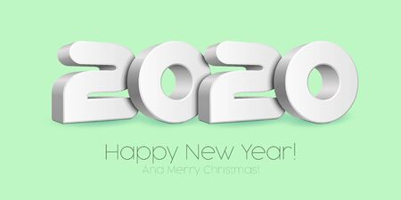 2020 Happy New Year , Card, Banner, Flyer Or Marry Christmas Themed Invitations. White Digits On Neo Mint, Blue Blackground. Ready For Your Design. Vector