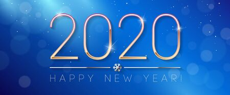 2020 Happy New Year , Card, Banner, Flyer Or Christmas Themed Invitations. Blue Illustration With Golden Digits And Snowflake. Ready For Your Design. Vector Banco de Imagens - 137414396