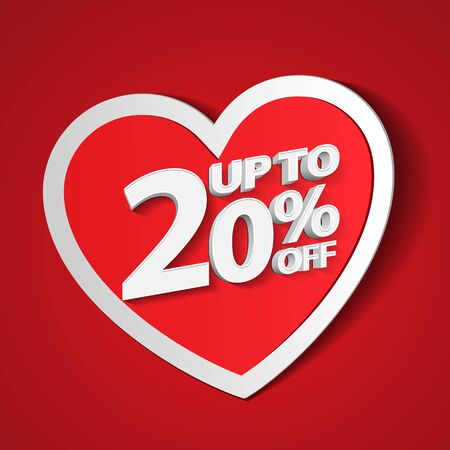 Valentines Day Up To 20 Off Special Offer Banner, Paper Sticker Heart. Template Twenty Percent. Sale, Discount. Red, White, Pink. Postcard, Love Message. Place For Text. Ready For Your Design. Banco de Imagens - 138512164