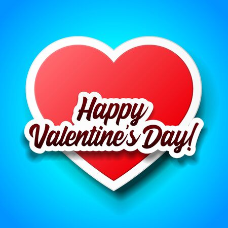 Valentines Day Banner, Paper Sticker Heart Background. Red, White, Blue. Postcard, Love Message or Greeting Card. Place For Text. Banco de Imagens - 138512160