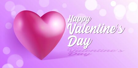 Valentines Day Banner 3D Heart Background. Red, White, Pink. Postcard, Love Message or Greeting Card. Place For Text. Banco de Imagens - 138512163