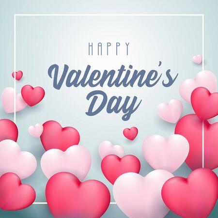 Happy Valentines Day Banner 3D Heart Background. White, Pink, Blue. Postcard, Love Message or Greeting Card. Ilustração