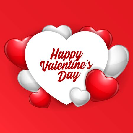 Valentines Day Banner Heart. Red, Gray, Pink. Postcard, Love Message or Greeting Card. Banco de Imagens - 138512161