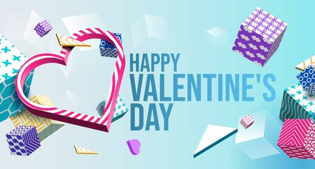 Valentines Day Banner 3D Heart, Colorful Cubes, Triangle. Abstract Geometric Background. Postcard, Love Message, Greeting Card. Place For Text. Ready For Your Design, Advertising. Vector Illustration Banco de Imagens - 138512166