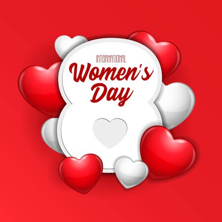International Women's Day, 8th March Banner, Paper Sticker, Heart. Red, White, Gray. Postcard, Love Message or Greeting Card. Template. Vector Illustration On White Background. EPS10 Banco de Imagens - 141436505