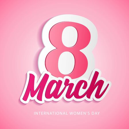 International Women's Day, 8th March Banner, Paper Sticker, Heart. Red, White, Pink. Postcard, Love Message or Greeting Card. Template. Vector Illustration. EPS10 Banco de Imagens - 141436564