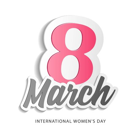 International Womens Day, 8th March Banner, Paper Sticker. Red, White, Pink. Postcard, Love Message or Greeting Card. Template, Illustration Ready For Your Design, Advertising. Vector