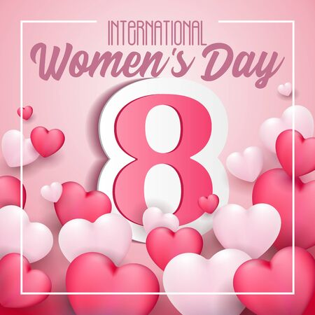 International Womens Day, 8th March Banner, Paper Sticker, Heart. Red, White, Pink. Postcard, Love Message or Greeting Card. Template. Vector Illustration. EPS10