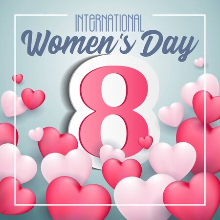 International Womens Day, 8th March Banner, Paper Sticker, Heart. Red, White, Pink, Blue. Postcard, Love Message or Greeting Card. Template. Vector Illustration. EPS10 Banco de Imagens - 141436573