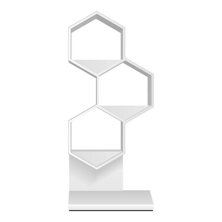 Mockup Hexagonal Retail Shelves Floor Display Rack For Supermarket Blank Empty. Cell. Cardboard . Mock Up. 3D On White Background Isolated. Ready For Your Design. Product Advertising. Vector EPS10 Banco de Imagens - 143466095