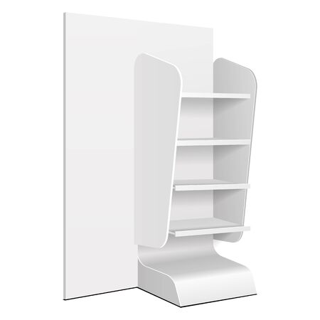 Cardboard Retail Shelves Floor Display Rack For Supermarket Blank Empty. Mock Up. 3D On White Background Isolated. Ready For Your Design. Product Advertising. Vector EPS10 Banco de Imagens - 141438255