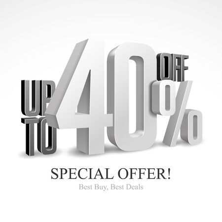 Up To 40 Off Special Offer Silver 3D Digits Banner, Template Forty Percent. Sale, Discount. Grayscale, Metal, Gray, Glossy Numbers. Illustration Isolated On White Background. Ready For Your Design. Banco de Imagens - 141439551