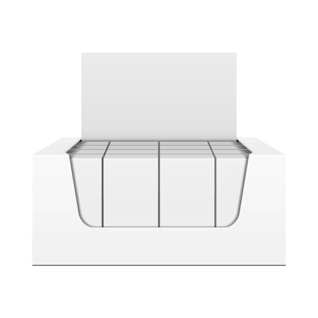 Mockup Display Holder Box Cardboard Filled Blank With Package, Gift, Square Pack. Vitamins, Cosmetic, Perfume, Chocolate. Mock Up, Template. Products On White Background Isolated. Mockup Packing. Banco de Imagens - 141439729