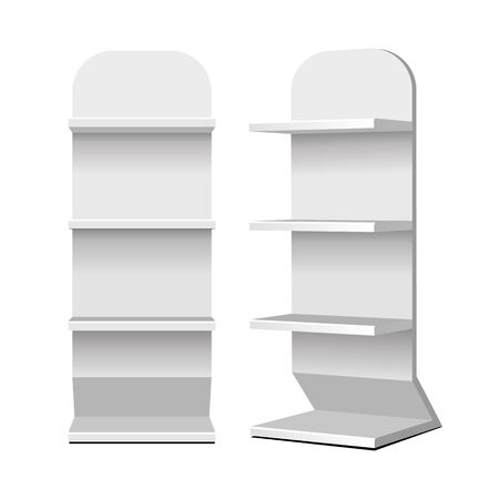 Mockup Cardboard Retail Shelves Floor Display Rack For Supermarket Blank Empty. Mock Up. 3D On White Background Isolated. Ready For Your Design. Product Advertising. Vector EPS10 Banco de Imagens - 141439398
