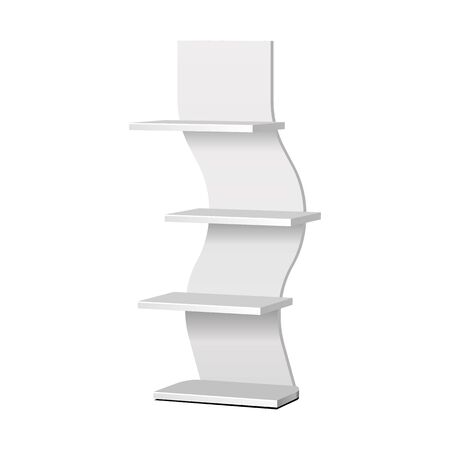 Mockup Cardboard Retail Shelves Floor Display Rack For Supermarket Blank Empty. Mock Up. 3D On White Background Isolated. Ready For Your Design. Product Advertising. Vector EPS10 Banco de Imagens - 143466097