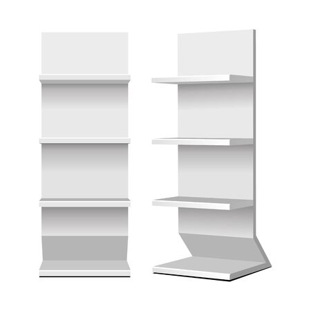 Mockup Cardboard Retail Shelves Floor Display Rack For Supermarket Blank Empty. Mock Up. 3D On White Background Isolated. Ready For Your Design. Product Advertising. Vector EPS10 Banco de Imagens - 143466146