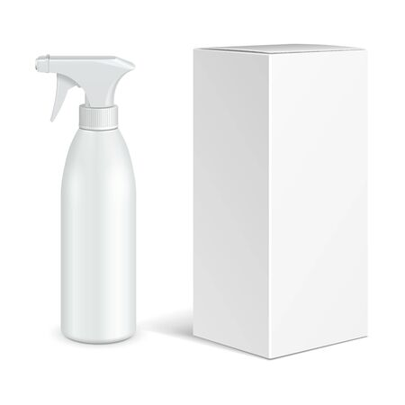 Mockup Cosmetic, Hygiene, Medical Grayscale Plastic Bottle Of Gel, Liquid Soap, Lotion, Cream, Shampoo With Box. Mock Up Ready For Your Design. Illustration Isolated On White Background. Vector EPS10 Banco de Imagens - 143466147