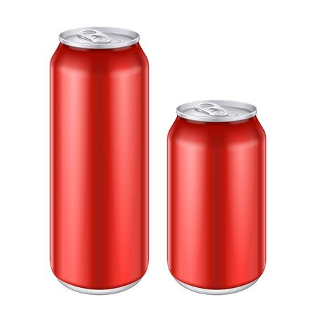 Mockup Red Metal Aluminum Beverage Drink Can 500ml, 0,5L. Beer, Soda, Lemonade, Juice, Energy. Mock Up Template Ready For Your Design. Isolated On White Background. Product Packing. Vector EPS10 Banco de Imagens - 143466150