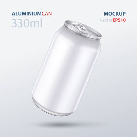 Mockup Metal Aluminum Beverage Drink Can 500ml, 0,5L. Beer, Soda, Lemonade, Juice, Energy. Mock Up Template Ready For Your Design. Isolated On White Background. Product Packing. Vector EPS10