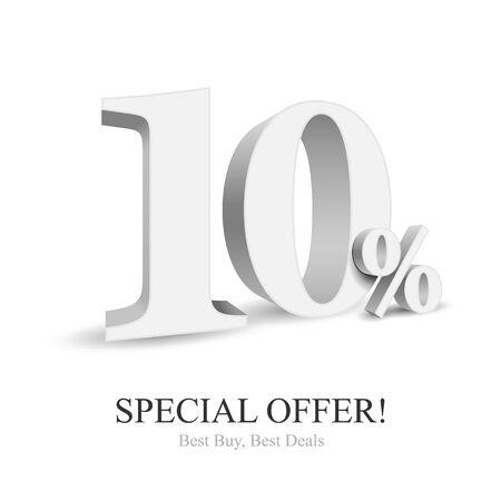 Up To 10 Off Special Offer Silver 3D Digits Banner, Template Ten Percent. Sale, Discount. Grayscale, Metal, Gray, Glossy Numbers. Illustration Isolated On White Background. Ready For Your Design. Banco de Imagens - 143466152