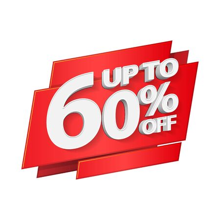 Up To 60 Off Special Offer 3D Red Digits Banner, Template Sixty Percent. Sale, Discount. Grayscale, Gray, Glossy Numbers. Illustration Isolated On White Background. Ready For Your Design. Banco de Imagens - 141440612
