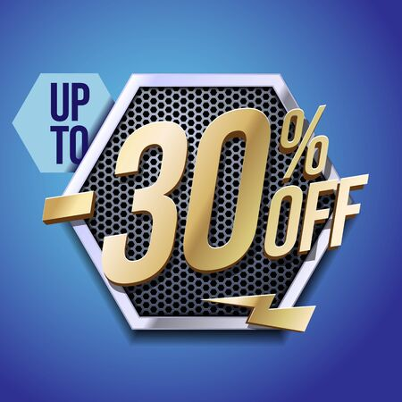Up To 30 Off Special Offer Gold 3D Digits Banner, Template Thirty Percent. Sale, Discount. Technology. Metal, Gray, Glossy Numbers. Illustration On Blue Background. Ready For Your Design. Banco de Imagens - 141446860