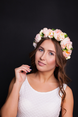Girl with a wreath on his head Stock Photo
