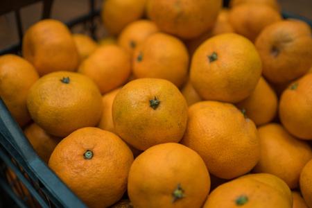 Delicious juicy orange tangerines in the box