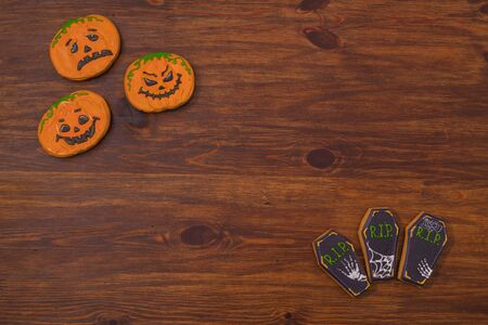 Funny cookies for Halloween. Back background. Hallowmas.