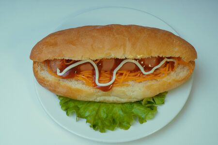 A delicious hot dog with a Korean carrot and spices on a salad leaf. Fast food