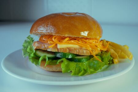 A large and tasty hamburger with a juicy piece of chicken, cucumbers, Korean carrots and cheese. On a plate with french fries. 版權商用圖片