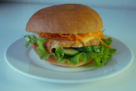 A large and tasty hamburger with a juicy piece of chicken, cucumbers, Korean carrots and cheese. On a white plate