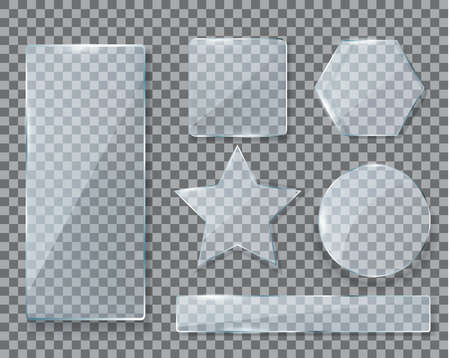 Glass plate set realistic window isolated