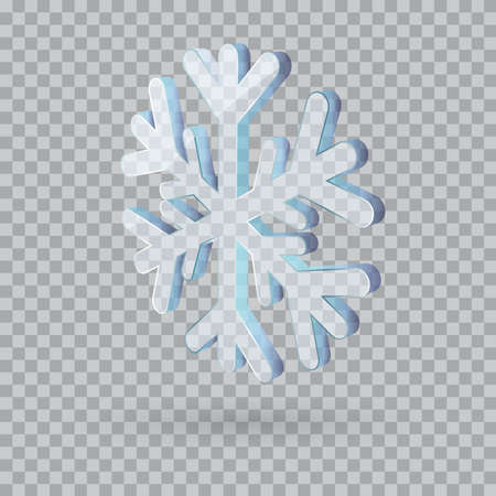 3D vector snowflake isolated illustration Vektoros illusztráció
