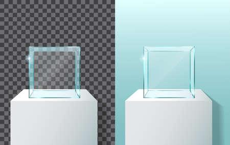 Empty glass showcase 3d vector 矢量图像
