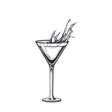 Splash cocktail drink glass hand drawn engraving vector illustration. Alcoholic isolated black and white vintage style drink.