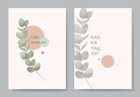 Floral wedding trendy invitation card eucalyptus branch template design. Modern watercolor art pastel vintage style. Vecteurs