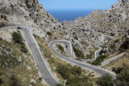 Road in the mountains. Mallorca, Spain. 版權商用圖片