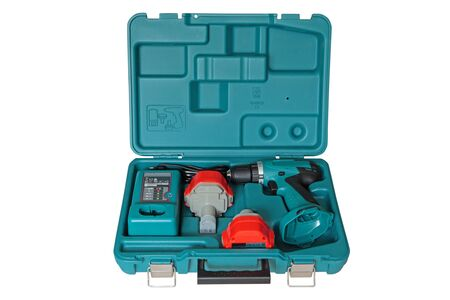 tool kit: The tool kit in a plastic case. Stock Photo