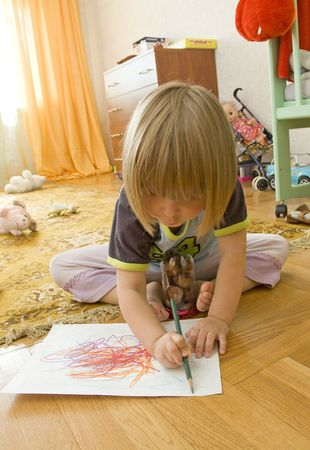 Drawing child Stock Photo