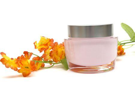 moisturizer cream and flower Stock Photo - 2820044