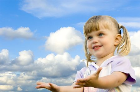 little girl and sky