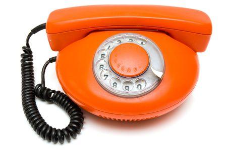 important phone call: old orange phone