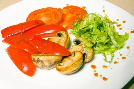 epicurean: vegetables and mushrooms Stock Photo